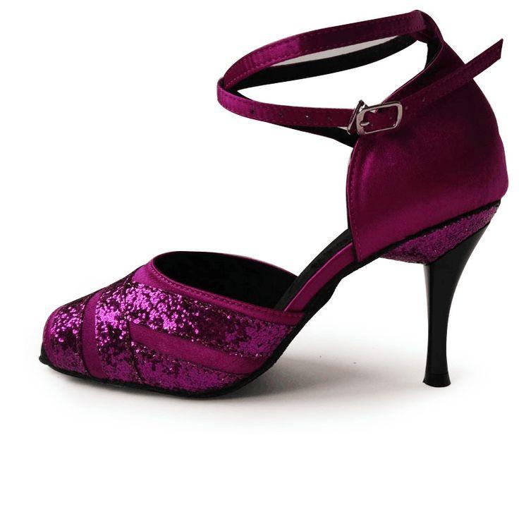 Professional Ladies sandal Zapatos de baile Salsa Pink Silver Black 8.5cm glitter Satin high heel Dance Shoes Latin woman L-084