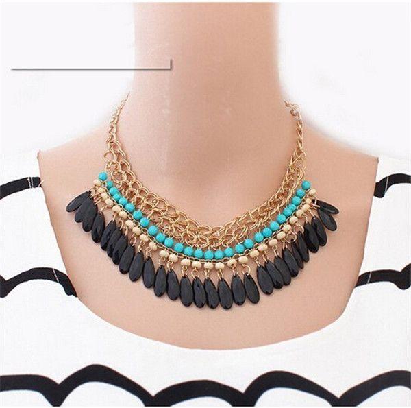 Boho Bohemian Style Retro Mutli-layered Acrylic Beaded Waterdrop Tassels Necklace For Women Statement Jewelry collier femme