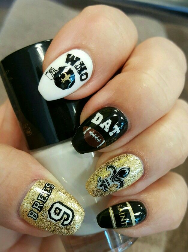 New Orleans Saints Nail Art by Dyla