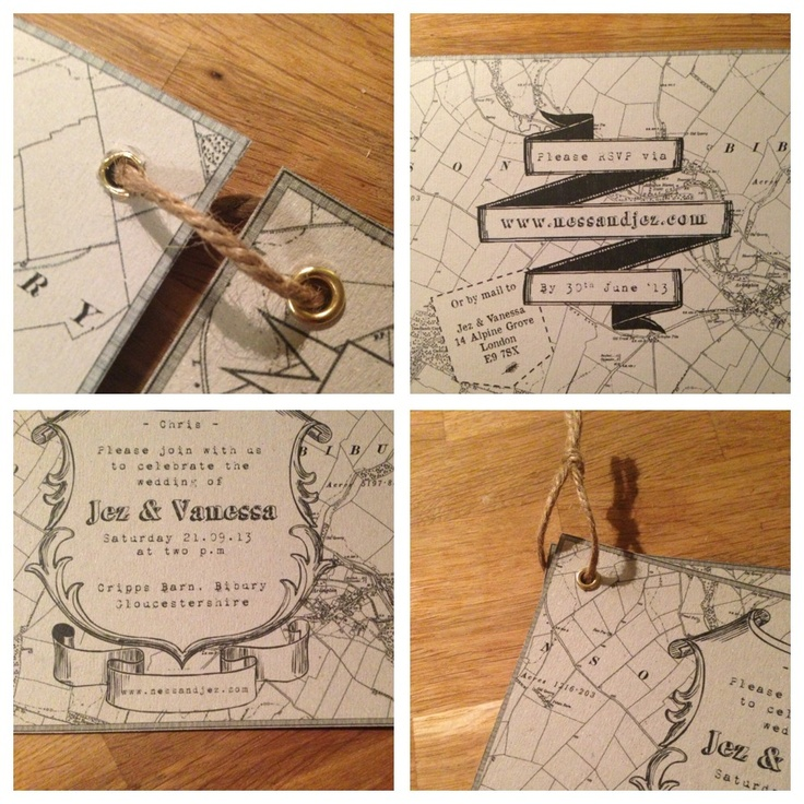 wedding invitations map%0A Rustic farm wedding invite    Our very own  Hessian pouch  twine tied