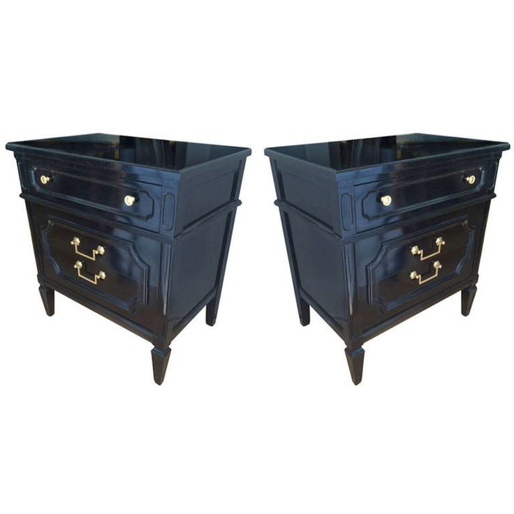 Maison Jansen 1940s Pair of Neoclassic, Black Lacquered Large Bed Sides | See more antique and modern Night Stands at http://www.1stdibs.com/furniture/tables/night-stands nightstand