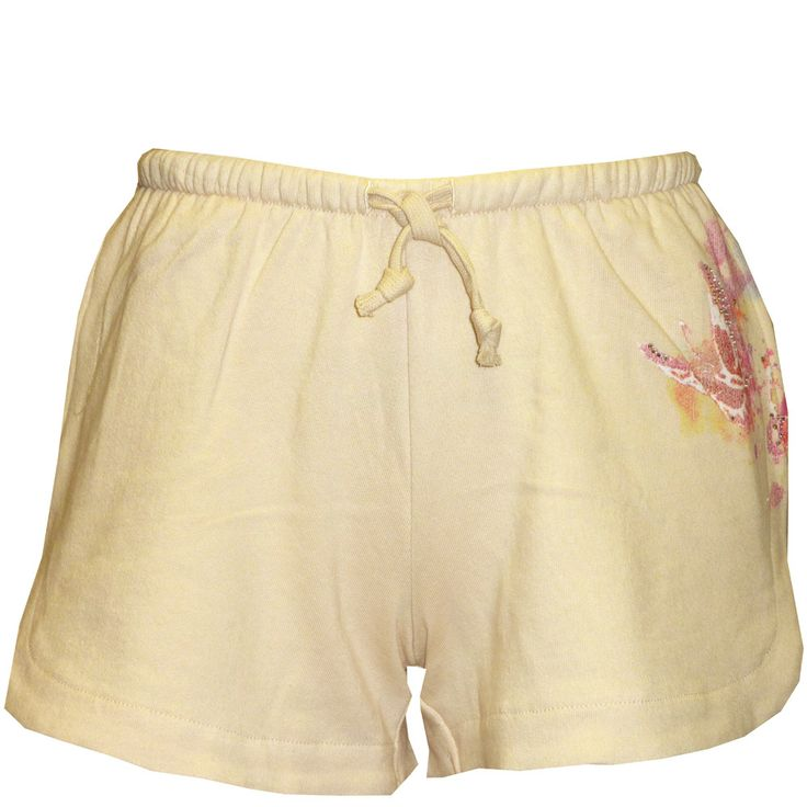 Ed Hardy Womens Butterfly Rhinestone Shorts- Ivory