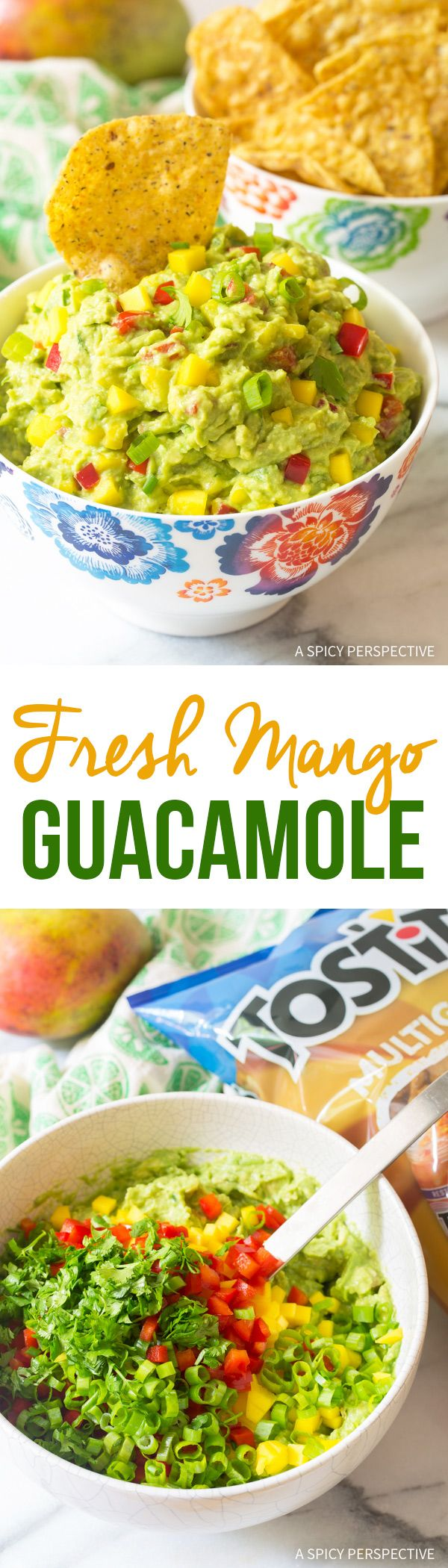 Spicy-Sweet Fresh Mango Guacamole Recipe - Try our favorite summer snack to take to the beach or lake. This Fresh Mango Guacamole Recipe is perfectly perky with spicy-sweet appeal. Try it with Multigrain Tostitos! @FritoLay @Tostitos #SayYesToSummer #ad