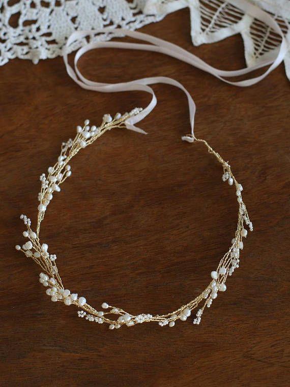 Freshwater Pearls Boho Bridal Hair Vine, Bohemian Headpiece, Wedding Headpiece, Pearl Headband, brid