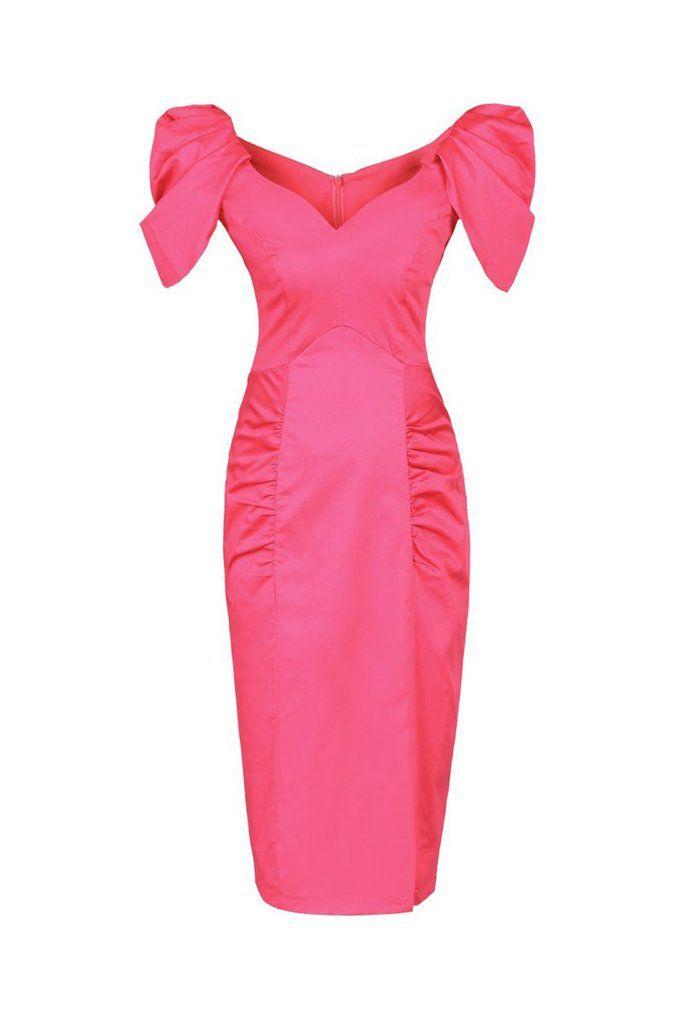 Hot Pink V Neck Ruffle Sleeve Wiggle Pencil Dress