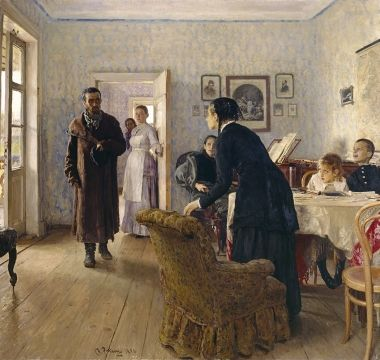 Repin, Ilya Efimovich  Unexpected Return 1884–1888 The painting was the final one in a series of the artist's paintings devoted to the Russian revolutionary movement.