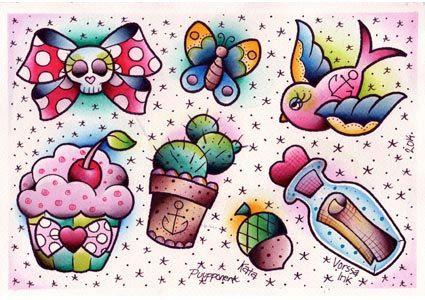 Vorssa Ink by Kata Puupponen Tattoo Flash Print Sheet by VorssaInk Cupcake, Bow