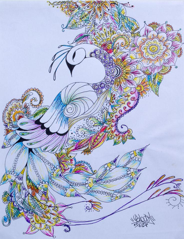 Pavo real! Ilustración hecha con micropuntas de color. Tamaño carta.