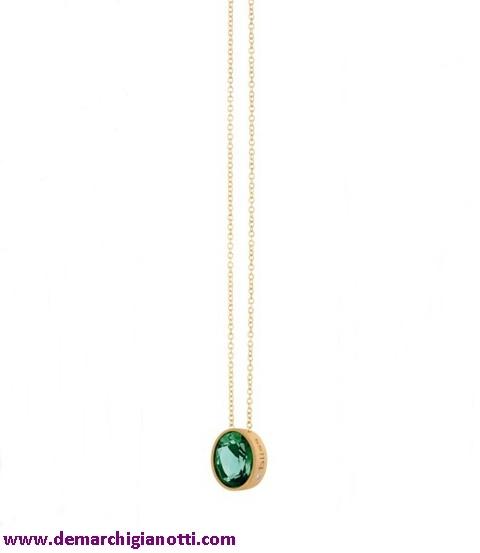 Bliss gioielli Collier 3326100  In argento placcato oro   Pietra termale color smeraldo e diamante  www.demarchigianotti.com