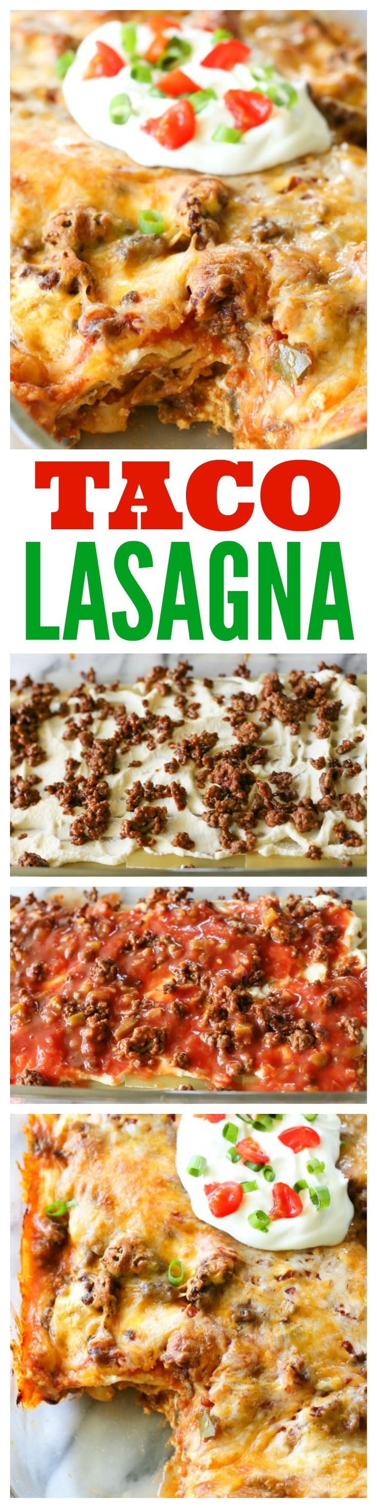 Taco Lasagna - Layers of lasagna noodles, salsa, taco meat, and cheese. Comfort food at its best!
