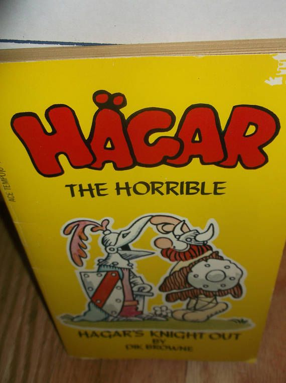 Small paperback features cartoons that depict a caricature of Scandinavian life. Hagar reminds one of a caveman at times! 1977 Ace Tempo ISBN 044817331x Shows age tanning to pages and covers No obvious flaws to covers or text Media Mail Shipping in US