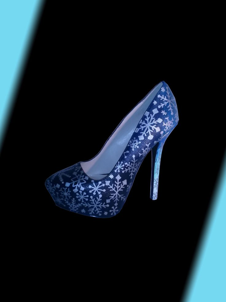 Hand Painted Snowflake Heels / Silver Snowflake Heels / Blue Fade Snowflake Heels / Hand Painted Heels / Multi-Color Heels / Frozen Heels by WiseGalCustoms on Etsy https://www.etsy.com/listing/256257153/hand-painted-snowflake-heels-silver