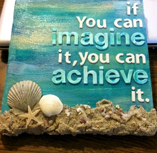 DIY Canvas Art with Foam Letters, Sand and Seashells: http://www.completely-coastal.com/2016/04/beach-sand-seashell-canvas-art-quote.html