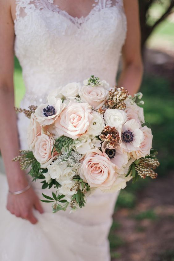 Chic pink rose and white anemone wedding bouquet; Featured Photographer: Rife Ponce Photography