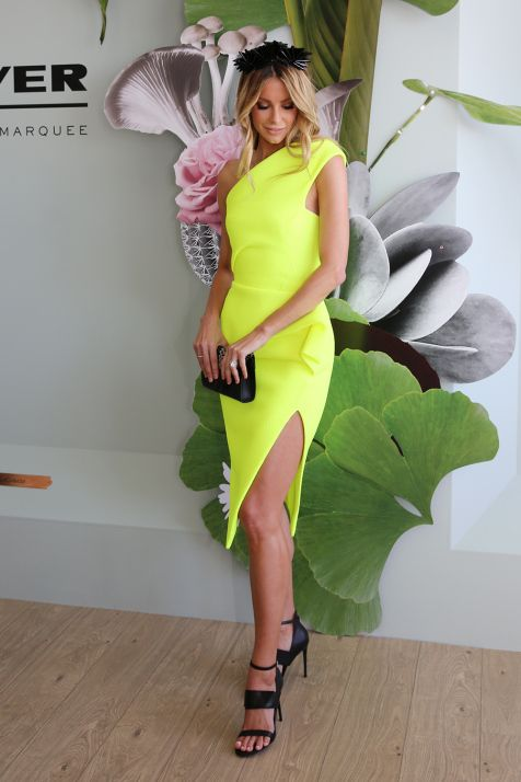 "Jennifer Hawkins wears the Maticevski ""Division Dress"" in Neon 2015 