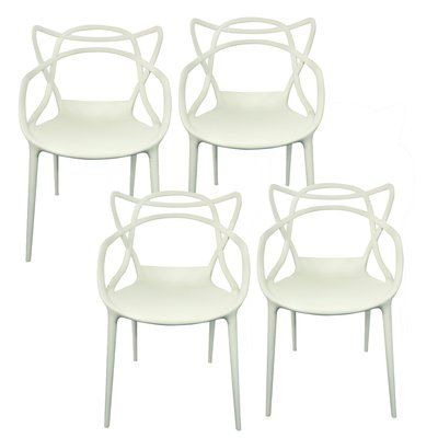 UtopiaAlley Dynax Weave Modern Resin Stacking Dining Arm Chair Finish: White