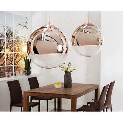Design Hängelampe Kugellampe Globe Pendelleuchte Glas Kupfer