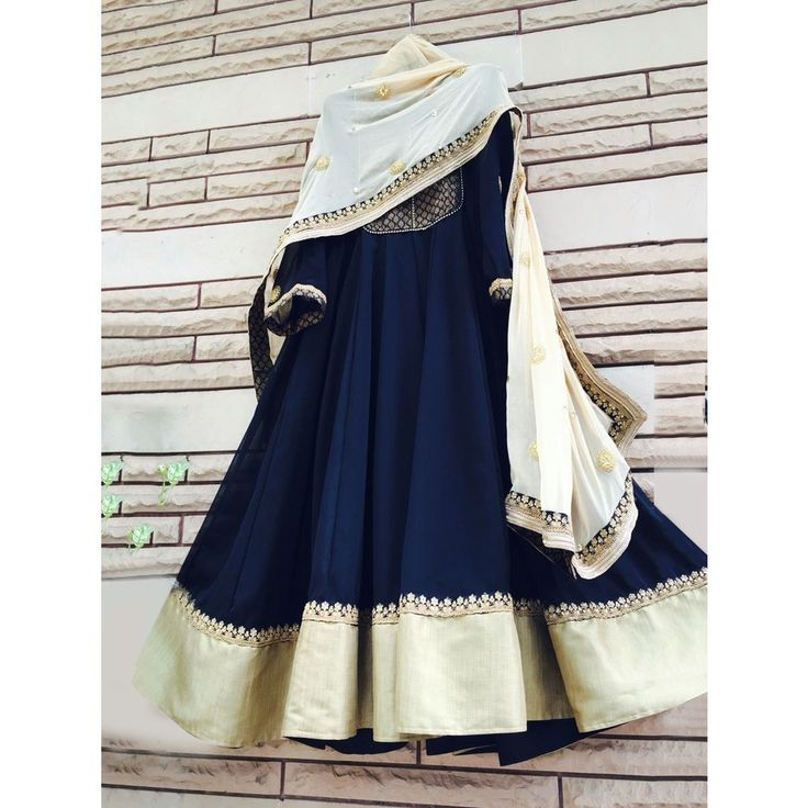 Navy Blue Silk Embroidered Anarkali Suit