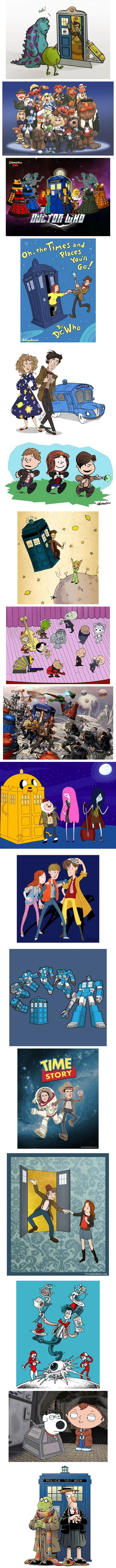 Doctor Who mash ups - The Peanuts ones are probably my favorites (somehow Schultz's style seems weirdly appropriate for Doctor Who).