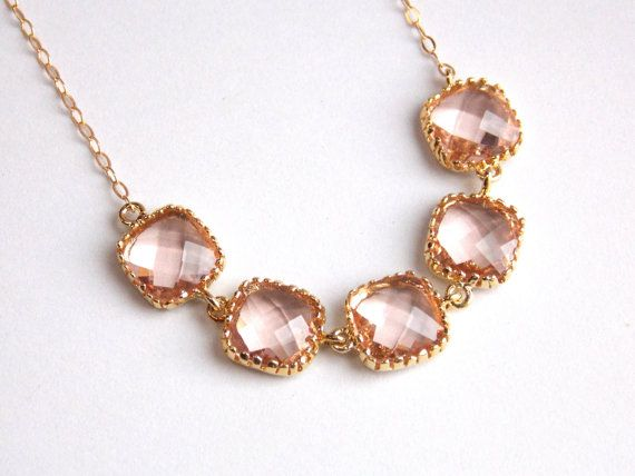Peach Necklace Gold Champagne Necklace Beige by mlejewelry on Etsy, $39.00