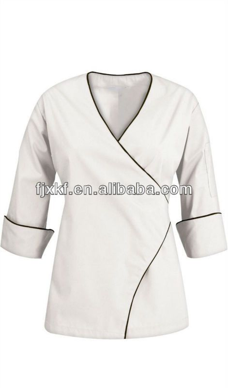 New Design Poly Cotton Twill White Chef Jacket For Women