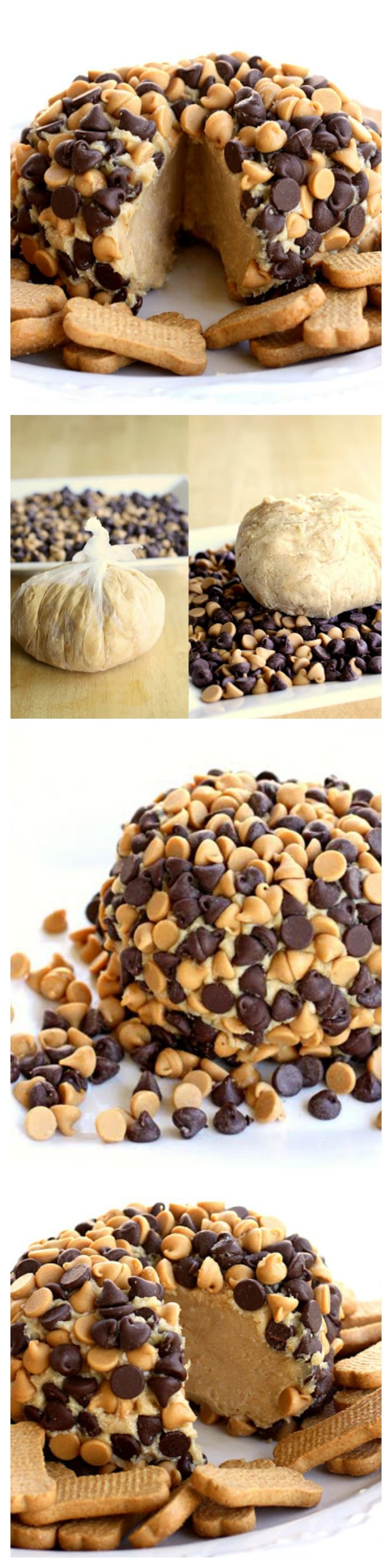 "This Peanut Butter ""Cheese"" Ball is a creamy peanut butter mixture rolled in chocolate chips and peanut butter chips. Serve with graham crackers or apples for a sure hit! the-girl-who-ate-everything.com"