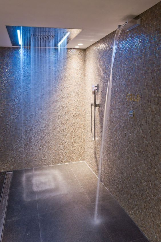 rainfall LED shower head makes this modern walk in shower something special ~ http://walkinshowers.org/best-led-shower-head-reviews.html