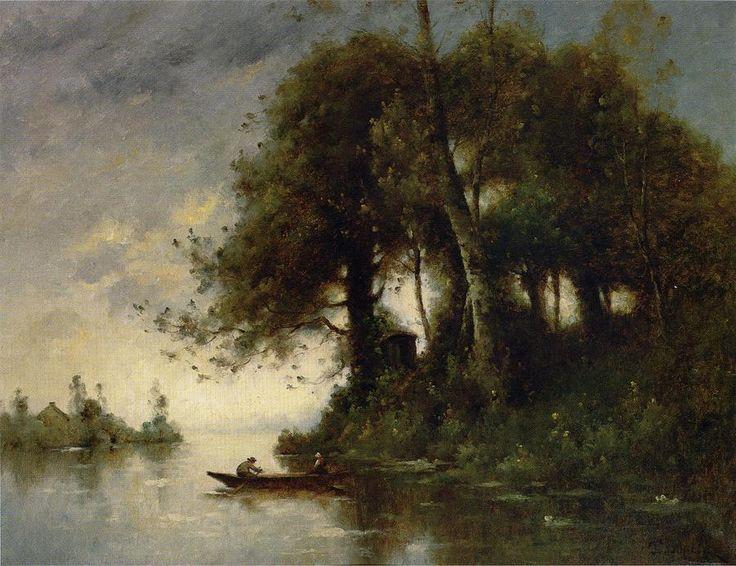 Paysage au bord de l eau, huile sur toile de Paul Désiré Trouillebert (1829-1900, France)