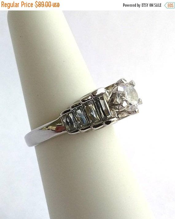 Vintage White Topaz Sterling Silver Ring Stair Step Ring 925 Engagement Ring Size 5 1/2 Baguette Solitaire Ring, Cocktail Dinner Ring http://etsy.me/2D4LQFs #jewelry #ring #no #women #silver #colorless #yes #baguettebanquette #engagement
