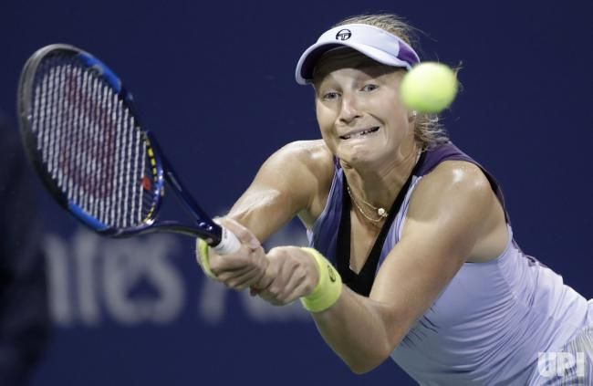 Ekaterina Makarova of Russia hits a backhand to Caroline Wozniacki of Denmark on court 17 in the second round at the 2017 US Open Tennis…