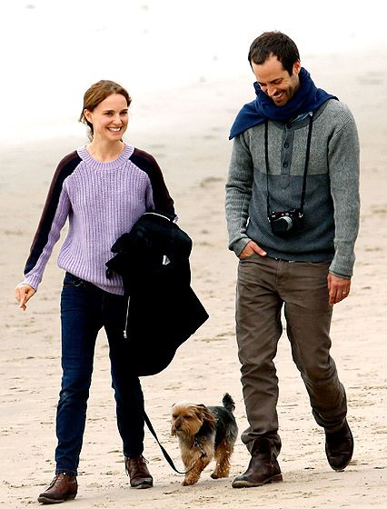Natalie Portman and hubby Benjamin Millepied hit the beach in Santa Barbara with their dog Whiz on Feb. 18.