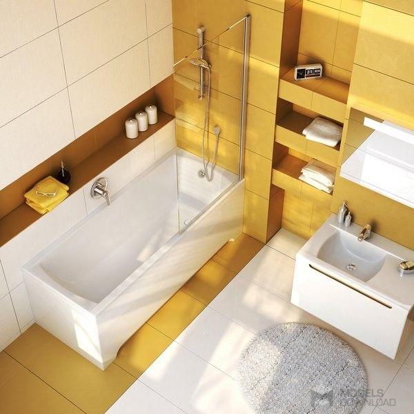 Funkcjonalna, mała łazienka   wanna Ravak