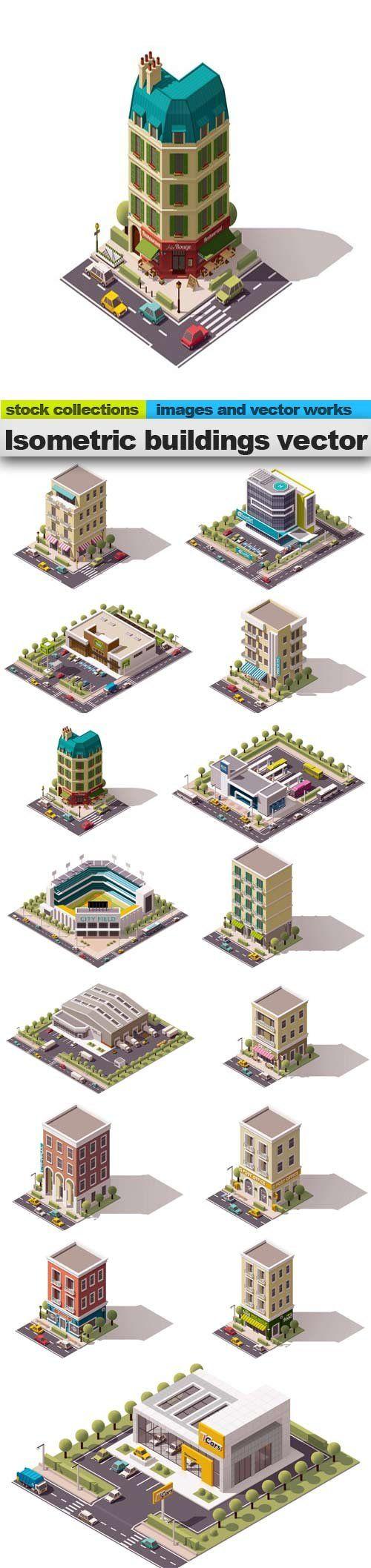 Isometric buildings vector 15 x EPS