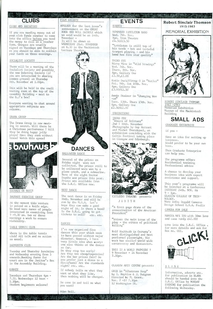 Archive reference: DC/9/4/1 Page 2 of CLONK, Issue 6, student newsletter published by SRC, 1984-5