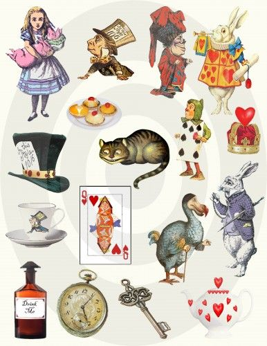 Alice In Wonderland Bits & Pieces Printable Digital Collage Sheet - #AF17 | rebelsher - Craft Supplies on ArtFire