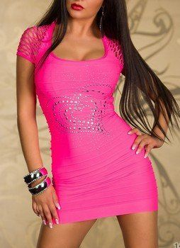 WOMAN MINI DRESS HEART PINK