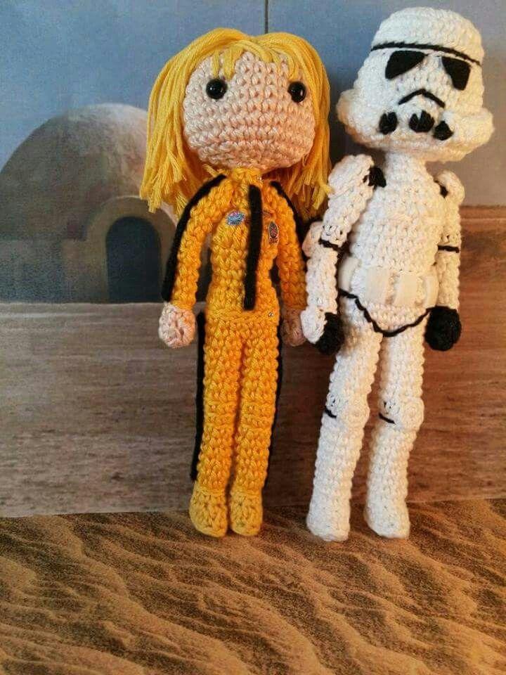 Amigurumis Beatrix, Kill Bill, y Tropper, Star Wars.