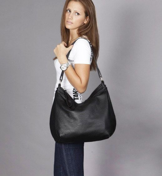 Black leather hobo/ leather hobo bag/soft leather purse/ by Laroll, €140.00