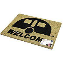 JVL Caravan Welcome Coir PVC Backed Entrance Door Mat, Rattan, 36 x 50 cm