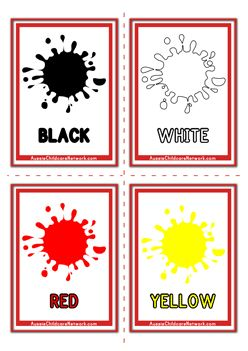 5 different sets of Printable Colors Flashcards