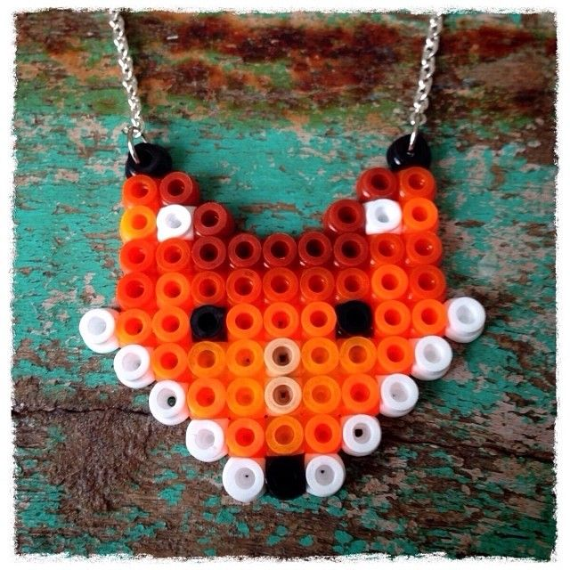 Fox necklace hama beads by woodiesandgoodies