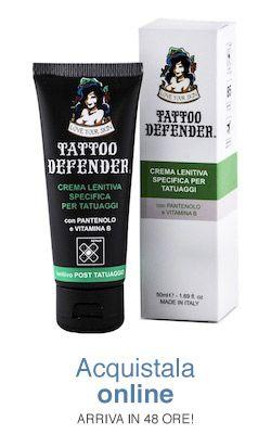 CREMA CICATRIZZANTE per il trattamento delle pelli tatuate post tatuaggio.   Lascia sul tatuaggio un'efficace barriera che ne favorisce l'immediata guarigione. Mantiene brillanti e vivi i colori perché cicatrizza in profondità, fissando l'inchiostro alle cellule cromofore. Si applica con un leggero massaggio più volte al giorno nel periodo successivo alla realizzazione del tatuaggio. NON UNGE; NON MACCHIA; NON RICHIEDE PELLICOLE http://www.tattoodefender.com/prodotti/crema-cicatrizzante/