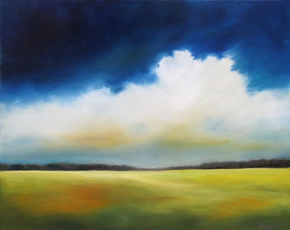 Wolke Malerei abstrakte Landschaft Kobalt von NancyHughesMiller