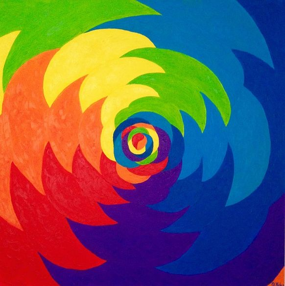 Illusion 100#100 Oil, Canvas #illusion #colorful #positivism #rainbow #positivismart #olgakeles #modern #beautiful #painting #oilpainting