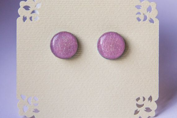 Pearl lavender earrings sparkle studs glossy studs от JewelryBest