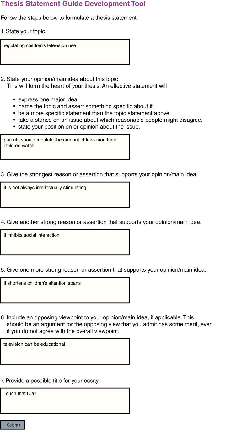 thesis generator example of essay thesis statement