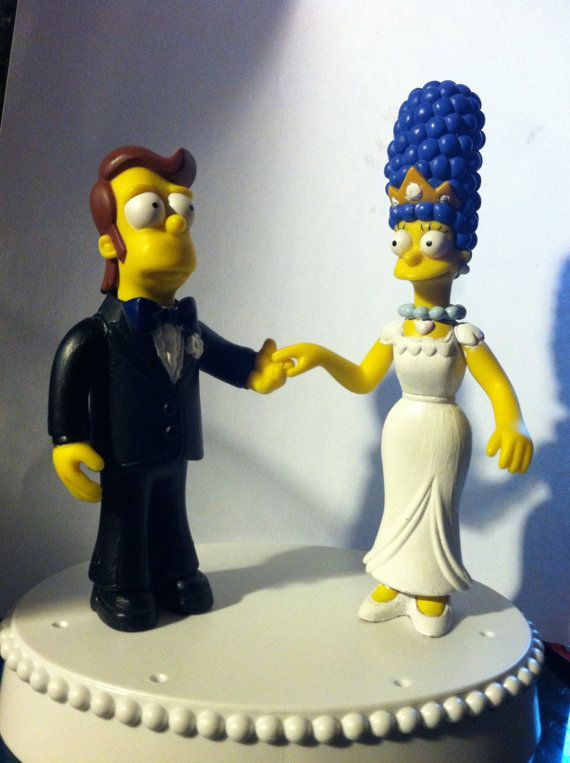 homer and marge simpson wedding cake topper beth lighty homer amp marge wedding cake topper 15306