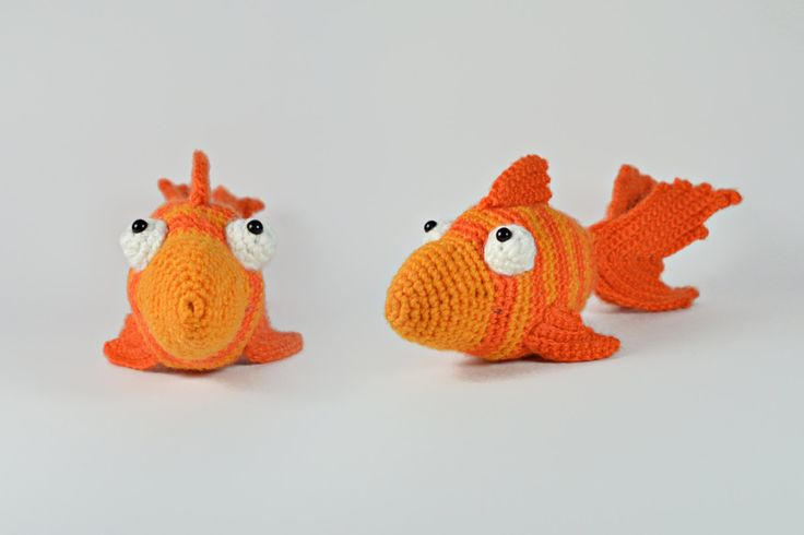 "Goldfish amigurumi crochet toy, great for birthday gift or baby shower. Created by ""Hedgehog - Amigurumi & Crafts""."