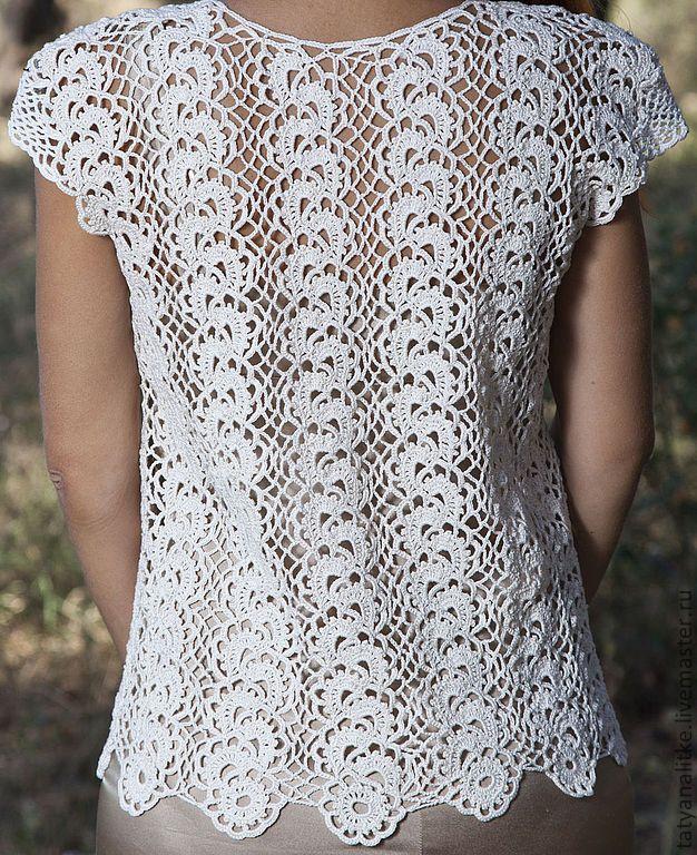 """Купить """"Романтика"""" блузка вязаная крючком. - бежевый, блузка крючком, блузка нарядная, блузка летняя"""