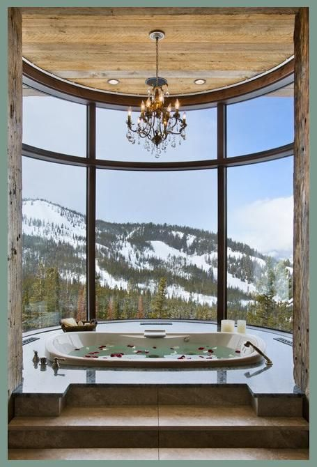 A Luxurious Bathroom with a Spectacular Mountain View! Milner Residence Master Bath in Big Sky, Montana by Locati Architects & Interiors | http://www.locatiarchitects.com/interior-design--2/milner-residence--2